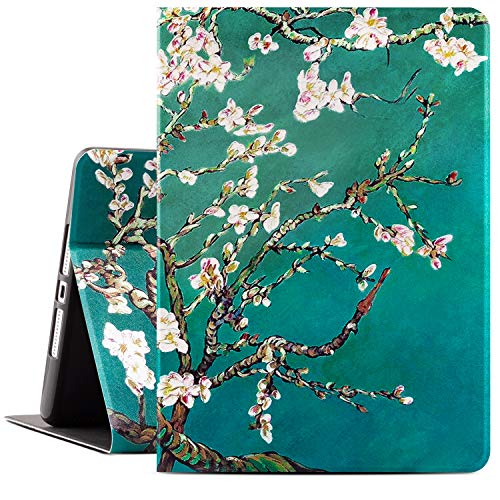 Drodalala 8th Generation iPad Case for Girls Women, 10.2 inch iPad Case for iPad 7th Generation, Premium Leather Soft TPU Adjustable Viewing Stand iPad 10.2 Case-Auto Wake/Sleep (Green Flower)