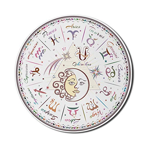 Zodiac Mouse Pad für Computer, Western Chart mit allen Zeichen Widder Jungfrau Leo Stier Waage Mystique Schicksalskalender, Runde rutschfeste dicke Gummi Modern Gaming Mousepad, 8 'rund, Pastellrosa