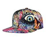 CNUSER Graffiti Eye Snapback Hats Cartoon Flat Bill Snapback Hats for Men Women Cool Printed Adjustable Baseball Cap