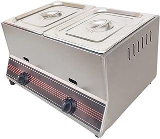 Friteuse électrique domestiquefriteuse à gaz en acier inoxydable à deux cylindresbouton d'allumageindépendant cuisinière à...