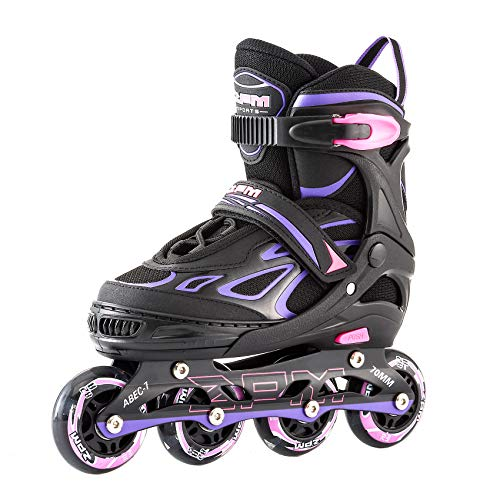 2PM SPORTS Vinal Girls Adjustable Inline Skates with Light up Wheels Beginner Skates Fun Illuminating Roller Skates for Kids Boys and Ladies… (Violet & Magenta, Large - Youth (4Y-7Y US))