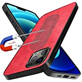Neeliup Compatible with iPhone 12 Pro Max Magnetic Case, [Invisible Metal Plate Support Magnetic Car Mount][Premium PU Leather] Soft Silicone Bumper Ultra Slim Shockproof 6.7' Cover-Red