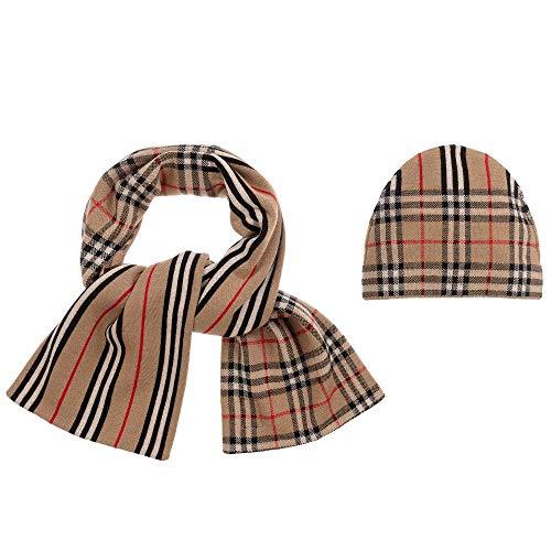 BURBERRY Iconic Check Stripe Wollmütze und Schal, Beige Gr. 85, beige