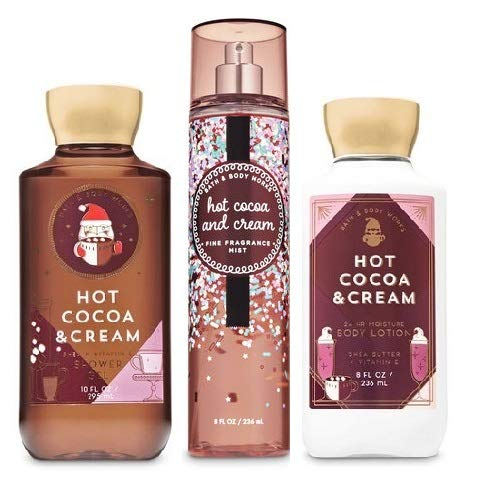Bath and Body Works HOT COCOA & CREAM New New Daily Trio Gift Set - Fine Fragrance Mist - Body Lotion and Shower Gel - Full Size
