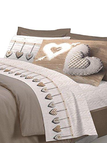 COINGROSTEX Completo Lenzuola in Cotone, per Letto Matrimoniale 2 Piazze, Modello Cuore Colore Beige