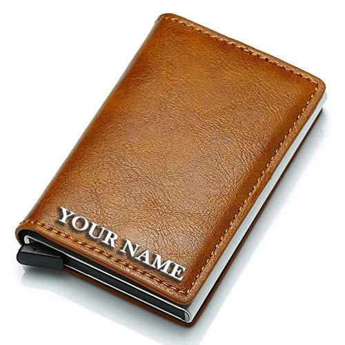 Credit Card Wallet | Best Minimalist Wallet | RFID Blocking Aluminum Card Holder (Custom lettering)