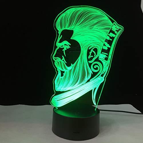 3D Optische Täuschung Nachtlicht Led Tisch Schreibtischlampe Friseur-Logo 7 Farbwechsel Touch Schalter Schreibtisch Nachtlicht Raum Dekor Für Kinder Freunde Geschenk