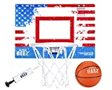 JaperBees Mini Basketball Hoop Kids Over The Door & Wall-Mount w/Thick Shatterproof Backboard(Patriotic) …
