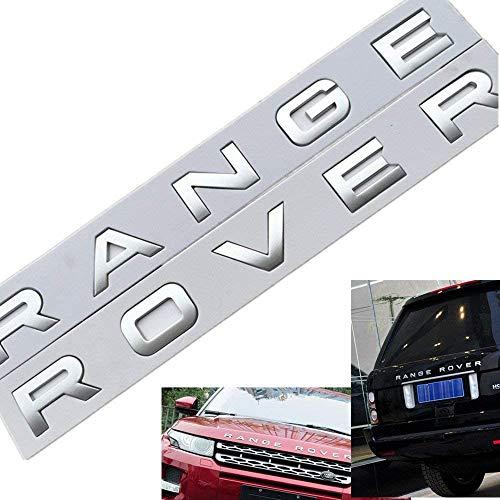 L&U 1 Juego en 3D Cubierta de la Cabeza capó Delantero Cartas Emblema Deportes Línea Insignia del Emblema Carta de Range Rover Pegatinas Decal Logo,Matt Silver