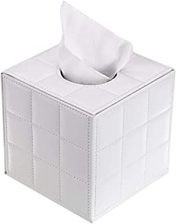Sumnacon Stylish PU Leather Tissue Box Holder, Square Napkin Holder Pumping Paper Case Dispenser, Facial Tissue Holder with Magnetic Bottom for Home Office Car Automotive Decoration, Grid White