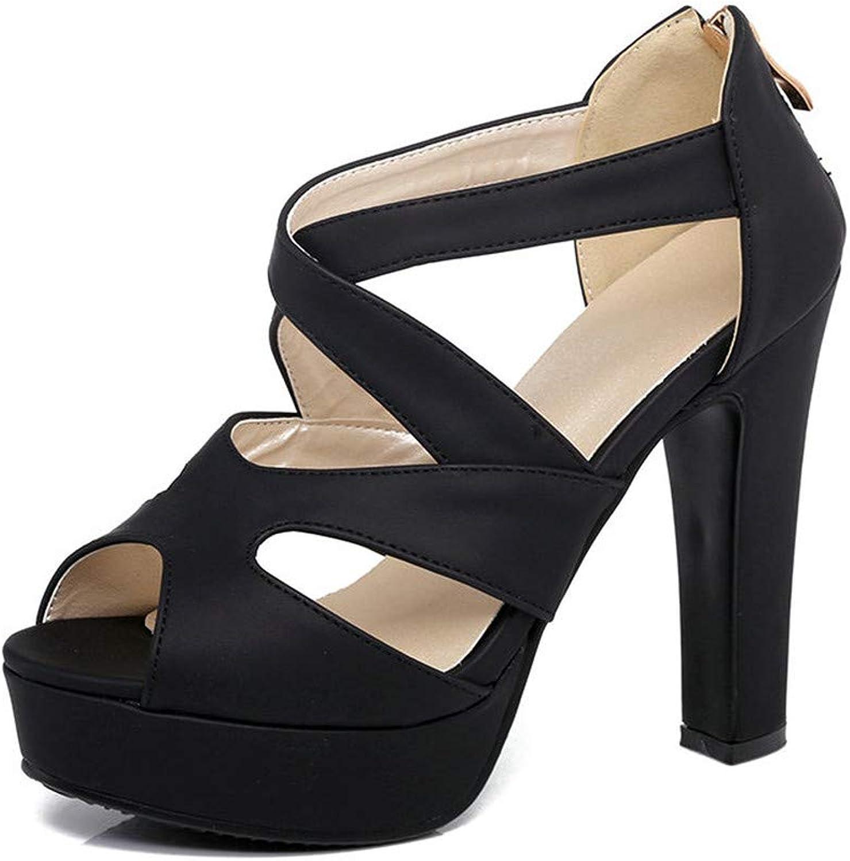 GAO-GEN1 Women Sandal Square High Heel Platform Women shoes Black Zipper Peep Toe PU Leather Ladies Wedding shoes