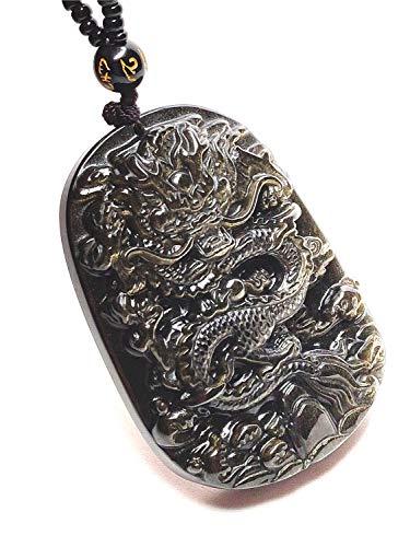 Natural Obsidiana Oro tallado diseño de dragón colgante amuleto de la suerte collar de perlas