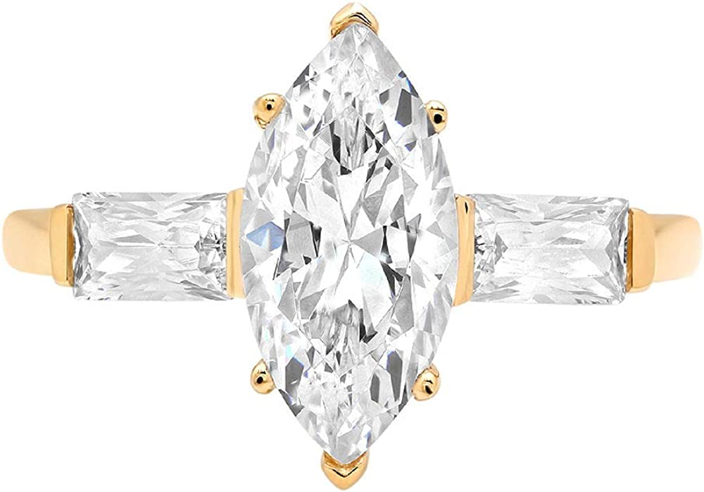 Clara Pucci 2.30 ct Three Stone Marquise Baguette Brilliant Cut Engagement Bridal Wedding Anniversary Band Ring 14K Yellow Gold