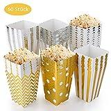 EKKONG Popcorn Boxen 60 Stück, Popcorn Box Pappe Candy Container Partytüten Behälter für Party Geburtstag Hochzeit Geschenk (12 x 7CM,...