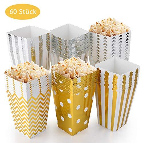 EKKONG Cajas de Palomitas de maíz, Palomitas de maíz Caja de bocadillos envases de Caramelos de cartón, Bolsas de Fiesta, para Niño Partes Boda Cumpleaños Regalos Películas (60 Piezas)
