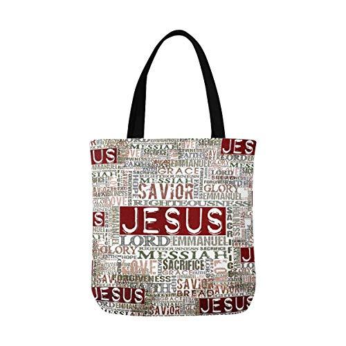 Vintage Jesus Religious Bible Verse Canvas Tote Bag