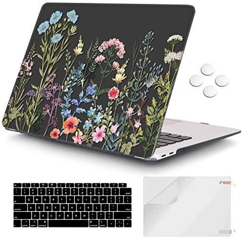 iCasso MacBook Air 13 inch Case 2020 2019 2018 Release A2237/A1932/A2179, Hard Shell Case Protective Cover and Keyboard Cover Only Compatible Newest MacBook Air 13'' with Touch ID Retina - Weeds