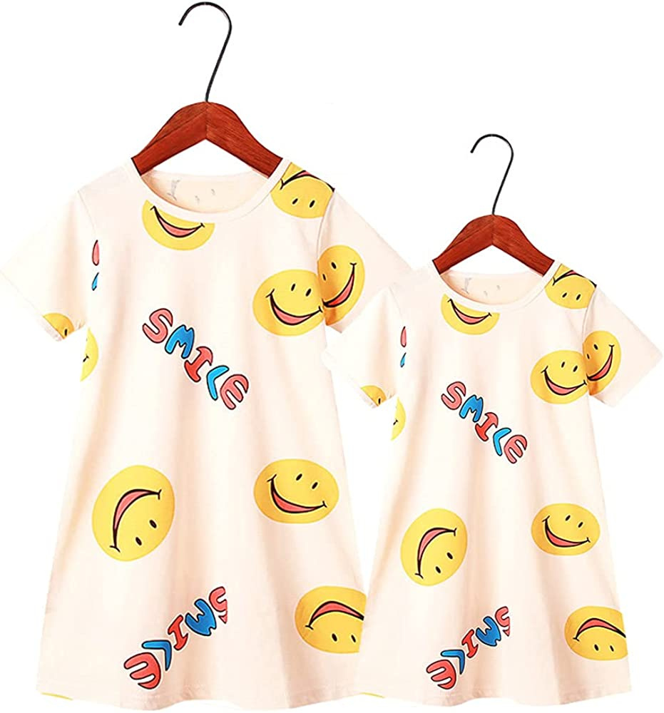 Cute Cartoon Print Short Sleeve Mother Daughter Outfits Mommy and Me Nightdress Family Matching