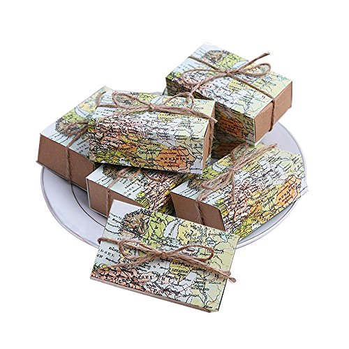 "QMOEH""Around The World"" Map Favor Boxes Gift Wedding Party Candy Boxes,Set of 24"