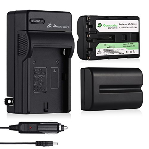 Powerextra 2 Pcs Replacement Sony NP-FM500H Battery and Travel Charger Compatible with Sony Alpha SLT-A57, A58, A65V, A77V, A99V, A77V, A77II, A350, A450, A500, A550, A700, A850, A900, CLM-V55