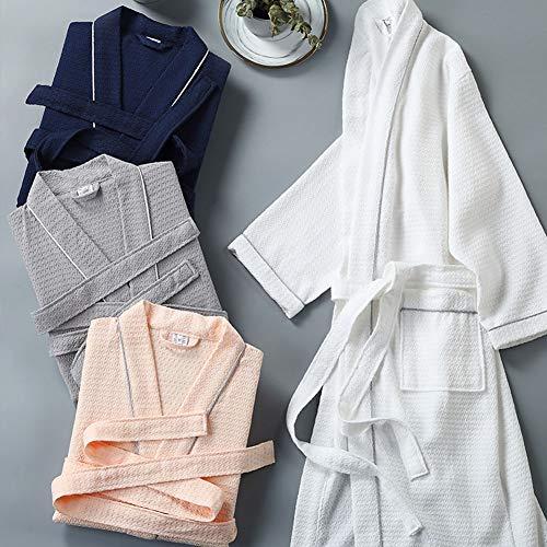 Bathrobe Albornoz de algodón para Mujer Hombre, Bata de Kimono SPA Nido de Abeja Delgada y Ligera,Albornoces de Viaje para Playa, Manga Larga