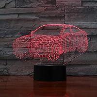 3D LED錯視ランプ 自動車の形状USB AA夜アクリル子供7色タッチテーブルライト