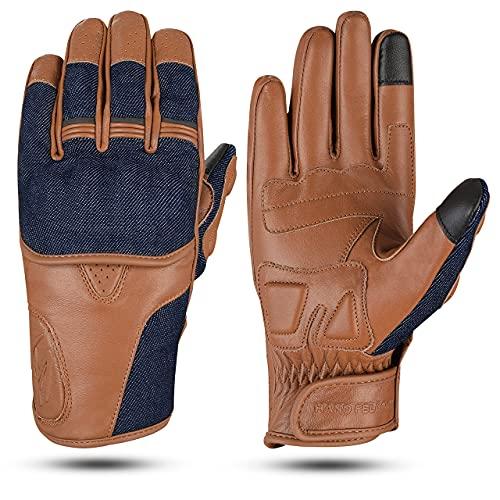 Hand Fellow Denim & Leder - Guantes de moto para pantalla táctil, guantes de moto, guantes para deportes al aire libre, guantes de carreras, guantes de coñac (XXL)