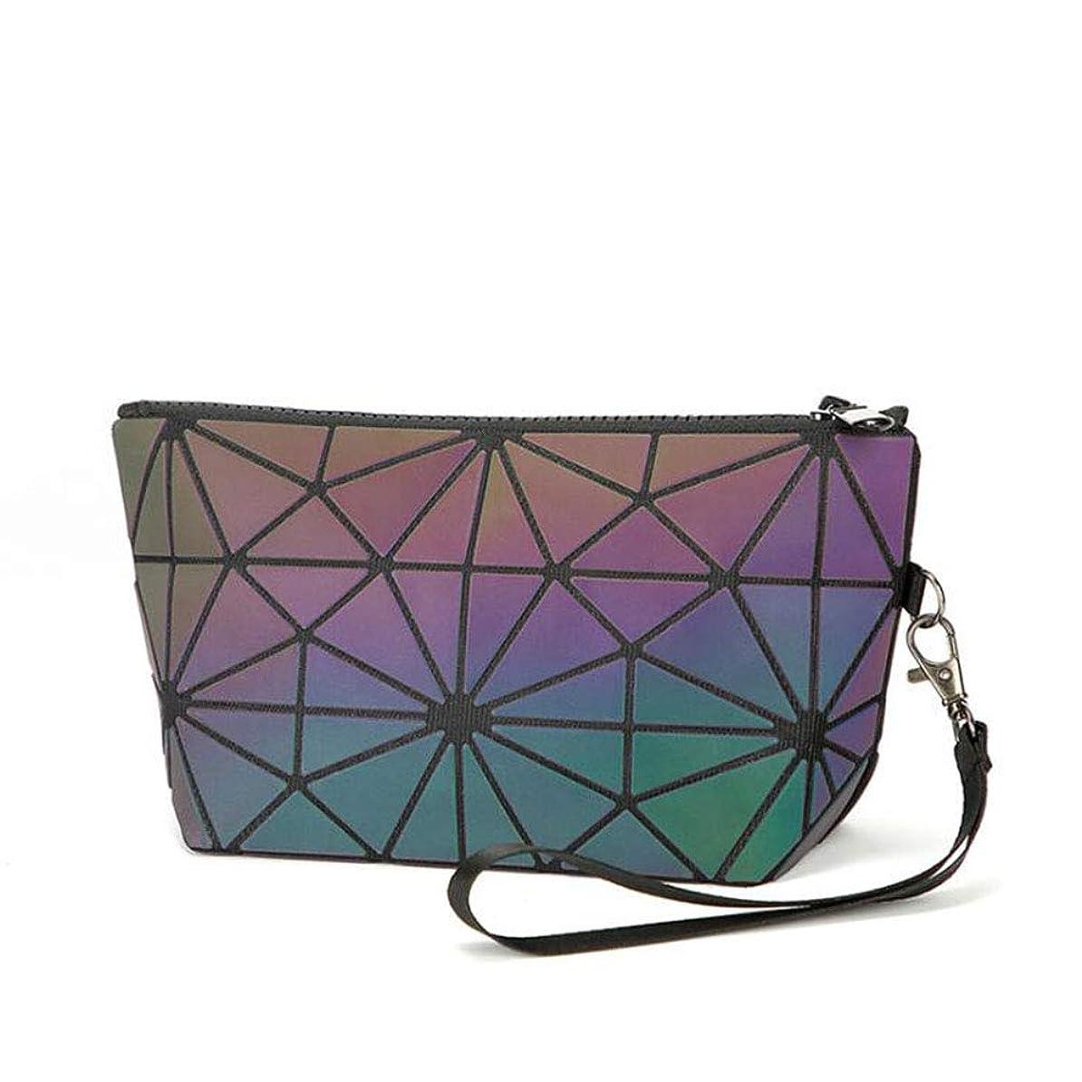 してはいけない脱獄忌まわしい新しい PVC 小さな化粧品バッグ幾何学的なダイヤモンドレディースルミナスレーザーハンド Makup バッグ