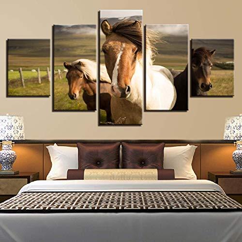 YXBNB 5 aufeinanderfolgende Gemälde Modern zum Malen Modular 5 Stück Tier Pferd Bild Wandkunst für Wohnzimmer Home Decor Artwork Leinwanddrucke