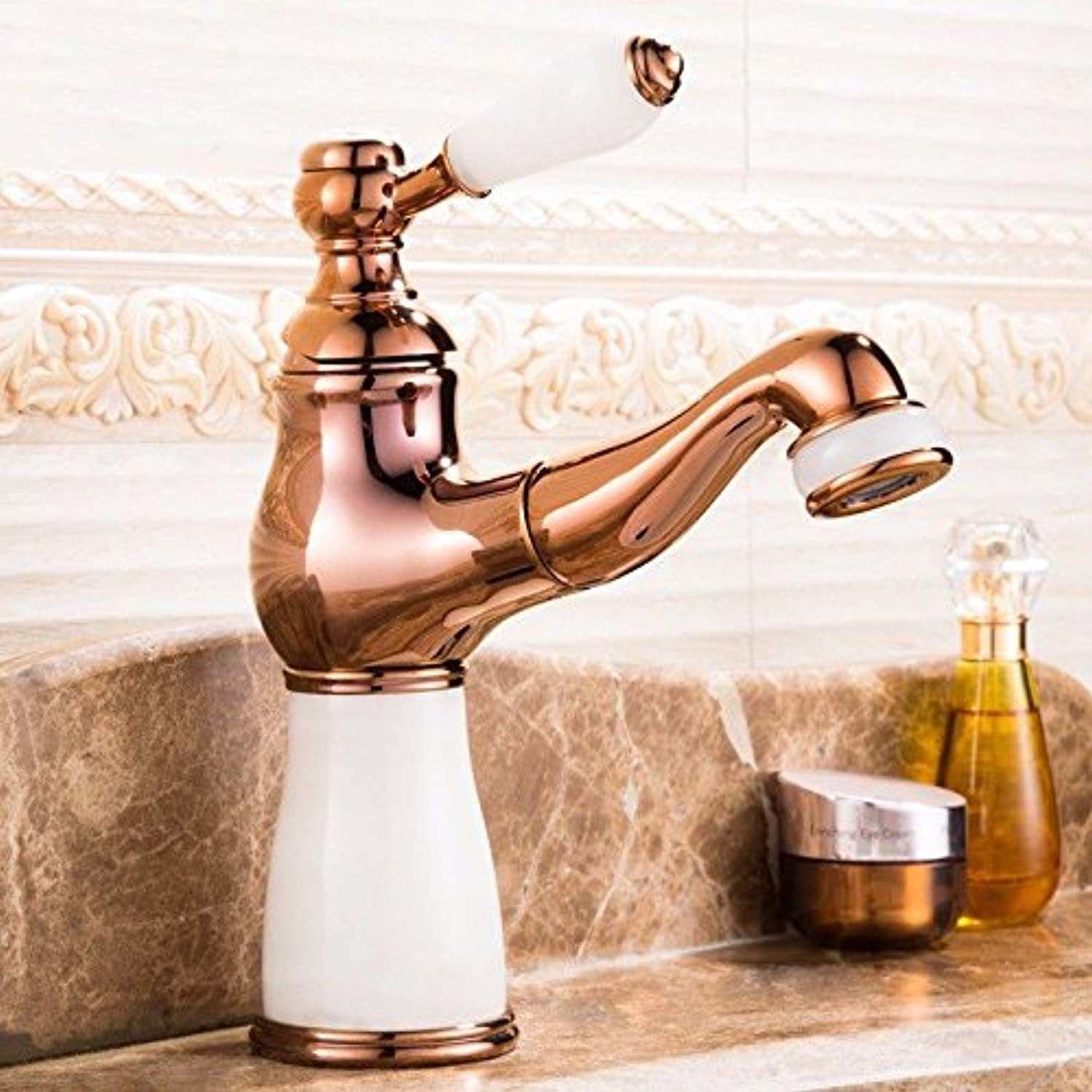 Lpophy Bathroom Sink Mixer Taps Faucet Bath Waterfall Cold and Hot Water Tap for Washroom Bathroom and Kitchen Jade Pull Type Hot and Cold C