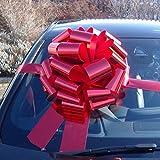 Lazo gigante para coches de 41 cm + 6metros de cinta, para coches, bicicletas y regalos grandes de cumpleaños y Navidad, de color rojo metálico