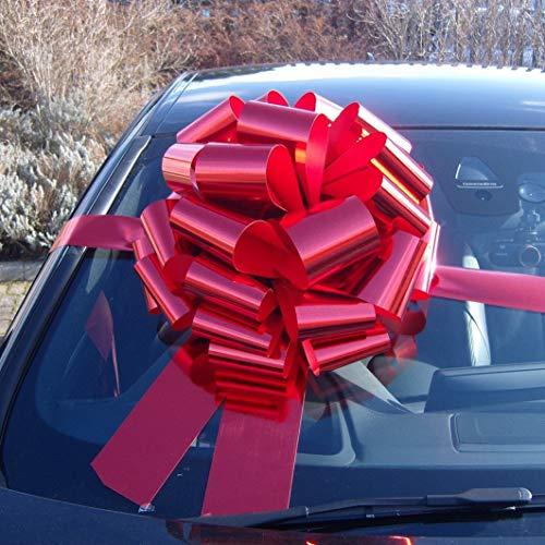 Riesige Schleife für Autos (42cm), mit 6 Meter langem Band, für Autos, Fahrräder, große Geburtstags- und Weihnachts-Geschenke, metallisch rot