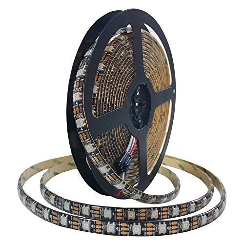WS2812B - Tira de luces LED RGB (5 m, 60 LED/m, flexible, direccionable, IP65, resistente al agua, con control (DC 5 V), para TV, fiesta, Navidad, etc. (5 m, 60 LED/m)