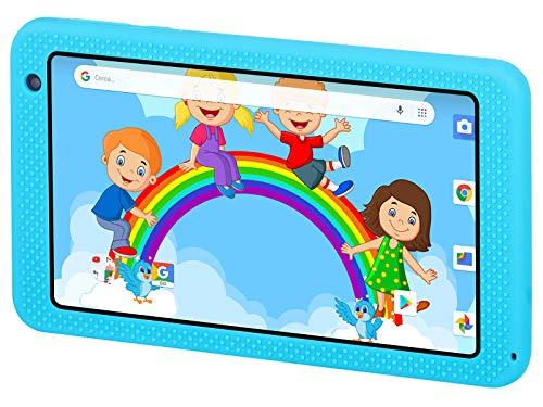 Trevi KIDTAB 7 S03 Tablet per Bambini CERTIFICATO GOOGLE GMS con Sistema Operativo Android OREO 8 GO, Display TFT IPS da 7 pollici, Internet Wi-Fi, Doppia Fotocamera, Guscio Protettivo Antiurto, Blu