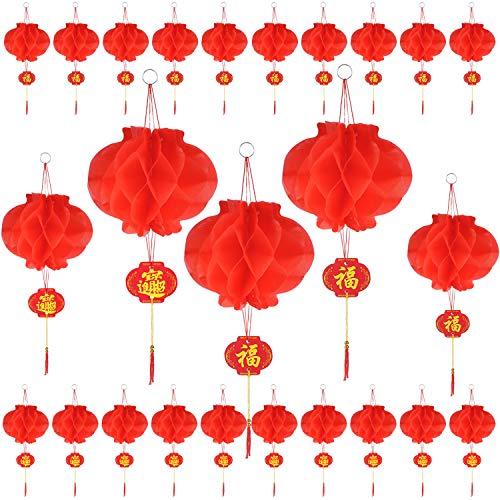Olgaa 60 linternas chinas colgantes de papel rojo chino para decoración de festivales de Año Nuevo, Festival de primavera, boda y restaurante (6.3 pulgadas)