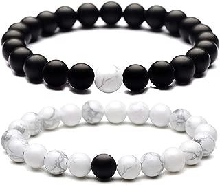 SOLINFOR Long Distance Couples Bracelets - 8mm Natural Stone Black Matte & White Howlite Beads Bracelet for Women Men (2 Piece Set)