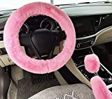 IXITON Universale Ispessimento Pelliccia Ecologica Inverno Caldo Fluffy Furry Coprivolanti per Auto+Coperchi del Cambio+Coperture Freno a Mano -3pcs/Set (Pink)
