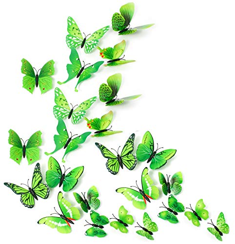 MissBirdler 24 Schmetterlinge Grün 3D Effekt Kühlschrank Schmetterling Magnet Wandtattoo Wand Fenster Aufkleber Dekoration Wanddekoration Wohnzimmer Küche Kinderzimmer Deko Wall Sticker