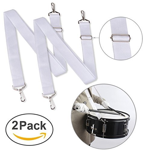 Marching Band Snare Drums Straps (Pack of 2) in White & Adjustable Snare Slings w/ Quick Release Clips Percussion Accessories