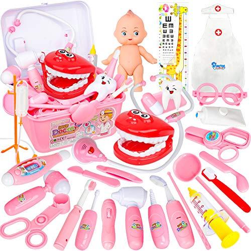 Vanplay Kinder Arztkoffer Rollenspiele Doktorkoffer mit Arzt Zubehör Spielzeug Lernspielzeug Geschenk für Jungen Mädchen 3 4 5 Jahre Rosa (32 pcs)