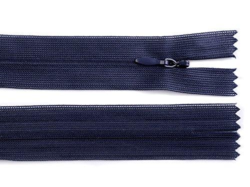 Schnoschi 1 Stück 60 cm Langer Spiralreißverschluss, nahtverdeckt, Nicht teilbar, dunkelblau, 3mm Laufschiene, Reißverschluss