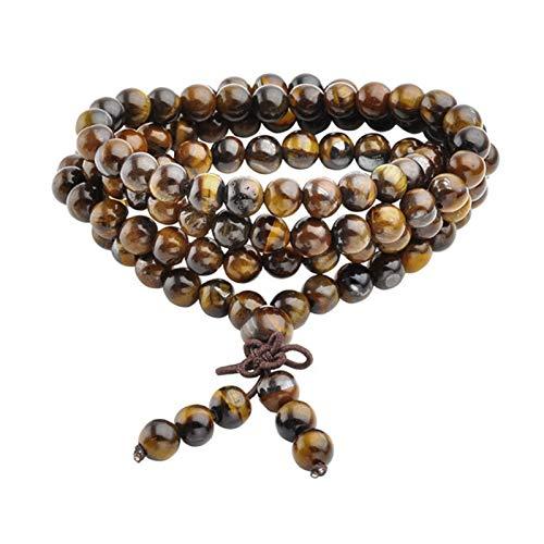 Buddha beads Prayer Reiki Healing Beaded Bracelet Natural Tiger Eye Stone 108 Beads Bracelet Necklace Yoga Buddha Bracelets Jewelry ( Main Stone Color : Tiger Eye Stone , Metal Color : 6MM Beads )