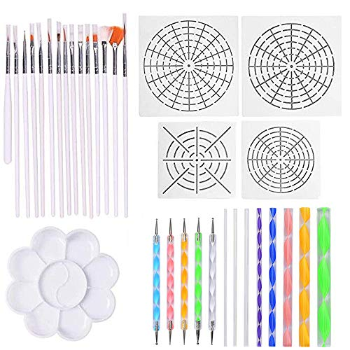 Amasawa 33 Stück Mandala Dotting Tools mit Schablonen und Malpalette für Steine Verschiedene...