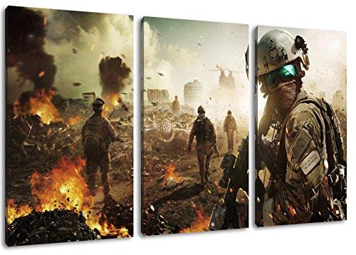 Battlefield 3-Teilig auf Leinwand, XXL riesige Bilder fertig gerahmt mit Keilrahmen, Kunstdruck auf Wandbild mit Rahmen