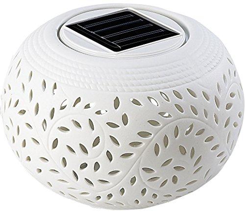Lunartec Solar Windlicht: Solar-Dekoleuchte aus Porzellan mit Farbwechsler + weißer LED (Solar Teelicht)