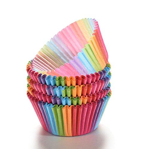 TININNA 100Pièce Boites Caissettes en Papier Coloré pour Muffins Gâteau Moule Parfait pour Les Muffins, Gâteau, Cupcake, Chocolat, Gélee