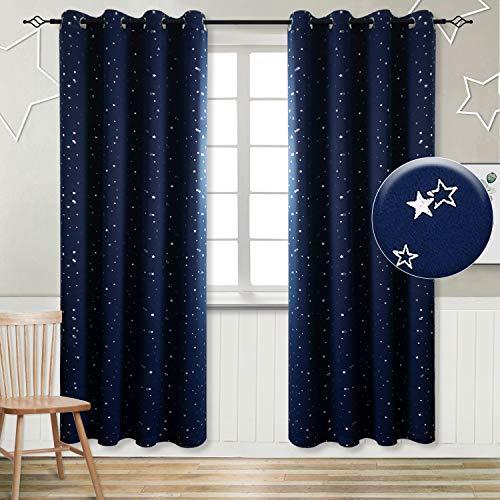 BGment Vorhänge Sterne Verdunkelungsvorhänge mit Ösen 2 Stücke Romatisch Blickdicht Gardine für Wohnzimmer Kinderzimmer Schlafzimmer(2X H 228 X B 117cm,Dunkelblau)