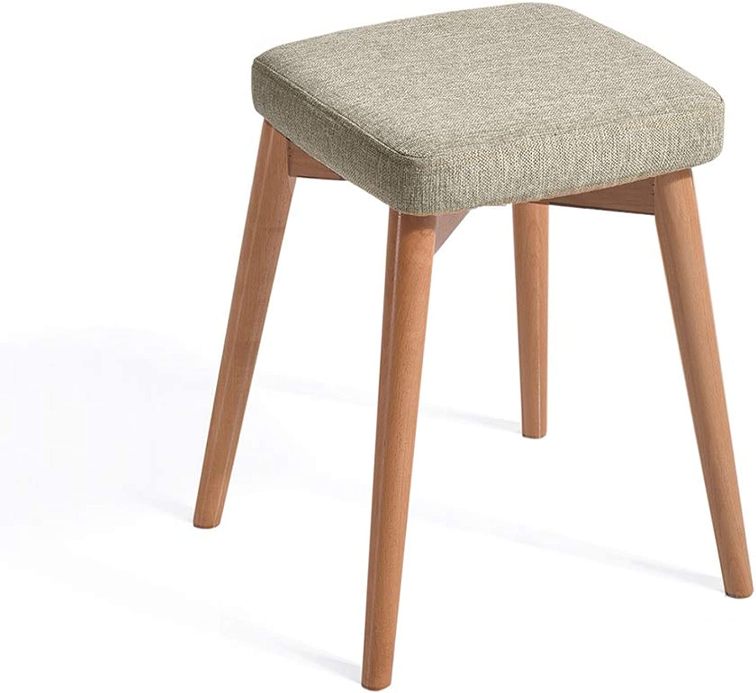 Solid Wood Stool, Home Dining Stool, Fashion Makeup Stool Dressing Stool, Living Room Fabric Dining Table Stool, Sponge Filled Seat,A