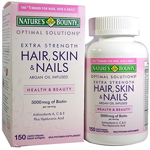 Nature 's Bounty, óptima soluciones, pelo, piel y uñas, extra strength, 150rápida liberación líquido, Cápsulas blandas
