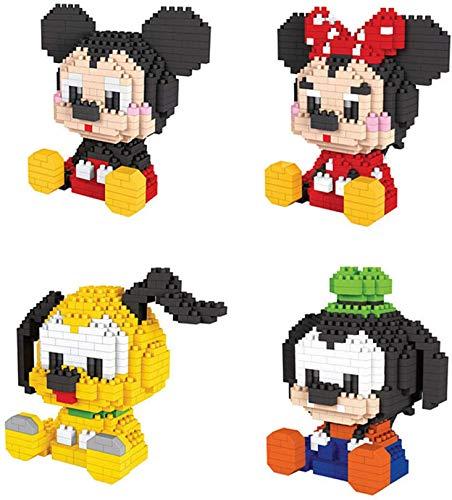 NXNX Micro Bloques De Construcción Mickey Mouse Models Ladrillos Conjunto 3D Puzzle DIY Juguetes Educativos (Paquete De 4)